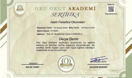"""'İslam Felsefesi Okumaları Seminerleri"""" katılım sertifikaları düzenlendi"""